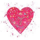 Coração da aquarela com teste padrão floral Fotos de Stock