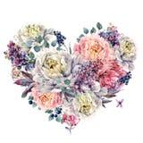Coração da aquarela feito das peônias e do lilás Foto de Stock Royalty Free