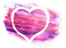 Coração da aquarela pintado no Livro Branco fotos de stock royalty free