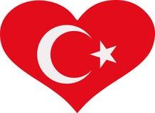 Coração da bandeira de Turquia ilustração royalty free