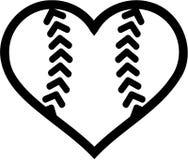 Coração da bola do softball ilustração stock