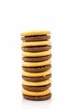 Coração da cookie do biscoito dado forma no fundo branco Fotografia de Stock Royalty Free