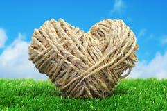 Coração da corda na grama foto de stock