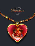 Coração da decoração do ouro No interior os pares da ilustração no menino e na menina do amor ilustração stock