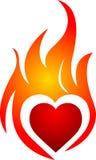 Coração da flama Fotos de Stock Royalty Free