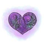 Coração da garatuja com imitação da aquarela Ilustração do Vetor
