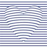 Coração da ilusão ótica de listras azuis Foto de Stock