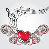 Coração da música do Grunge Imagem de Stock Royalty Free