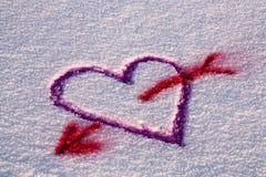 Coração da neve Fotos de Stock
