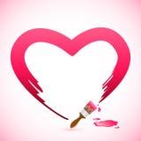 Coração da pintura da escova Fotos de Stock Royalty Free