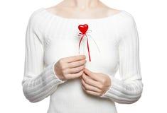 Coração da preensão da mulher na vara fotos de stock