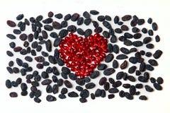 Coração da romã e das passas Imagem de Stock
