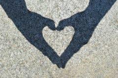 Coração da sombra na pedra Imagem de Stock