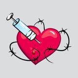 Coração da tatuagem do toxicômano Imagem de Stock