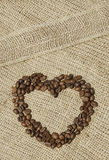 Coração dado forma café na lona Imagens de Stock