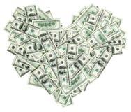 Coração dado forma com as 100 notas de banco do dólar Fotos de Stock Royalty Free