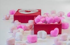 Coração dado forma na caixa de presente Fotografia de Stock