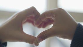 Coração dado forma pelas mãos da criança perto acima As crianças bonitos descrevem a forma do coração com seus dedos Conce filme