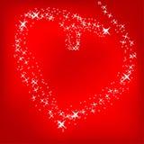 Coração das estrelas em um fundo vermelho brilhante ilustração royalty free
