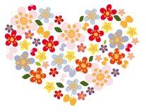 Coração das flores e das borboletas Ilustração Royalty Free