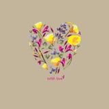 Coração das flores Vetor Imagem de Stock Royalty Free