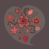 Coração das folhas e dos insetos das flores ilustração royalty free