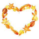 Coração das folhas outono watercolor Foto de Stock Royalty Free