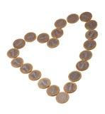Coração das moedas Imagens de Stock