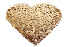 Coração das moedas de ouro Imagens de Stock Royalty Free