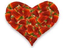 Coração das morangos Fotografia de Stock Royalty Free
