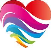 Coração das ondas em cores do arco-íris, logotipo do coração e do pintor ilustração stock