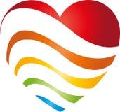 Coração das ondas em cores do arco-íris, logotipo do coração e do pintor ilustração royalty free
