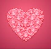 Coração das rosas cor-de-rosa fotografia de stock