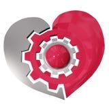 Coração de aço da roda de engrenagem isolado no fundo branco Foto de Stock
