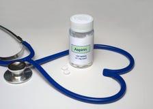 Coração de Aspirin Fotografia de Stock
