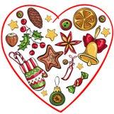 Coração de Christmass com elementos diferentes para o projeto ilustração royalty free