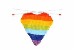 Coração de confecção de malhas colorido Fotos de Stock Royalty Free
