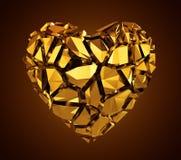 coração de cristal dourado quebrado 3d Fotografia de Stock Royalty Free