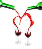 Coração de derramar o vinho vermelho foto de stock royalty free