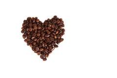 Coração de feijões de café Fotos de Stock