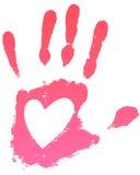 Coração de Handprint Fotografia de Stock