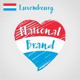 Coração de Luxemburgo, tipo nacional da bandeira do vetor foto de stock royalty free