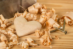 Coração de madeira Fotos de Stock Royalty Free
