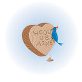 Coração de madeira com pássaro Fotos de Stock Royalty Free