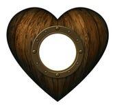Coração de madeira com portal Foto de Stock Royalty Free