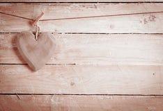 Coração de madeira rústico Foto de Stock Royalty Free