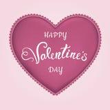 Coração de matéria têxtil com rotulação do dia de Valentim feliz Imagens de Stock Royalty Free