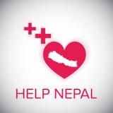Coração de nepal da ajuda e símbolo vermelho positivo ilustração royalty free