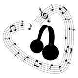 Coração de notas e de pauta musical da música em torno dos fones de ouvido ilustração stock
