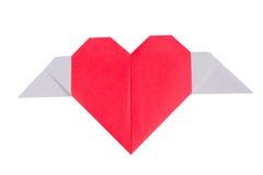 Coração de papel com asa Imagens de Stock Royalty Free
